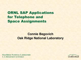 ORNL SAP Applications  for Telephone and  Space Assignments