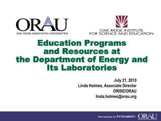 Education Programs  and Resources at  the Department of Energy and Its Laboratories