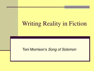 Writing Reality in Fiction