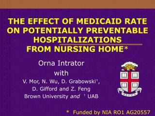 THE EFFECT OF MEDICAID RATE ON POTENTIALLY PREVENTABLE HOSPITALIZATIONS  FROM NURSING HOME *