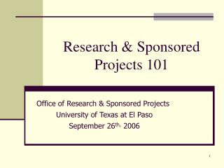 Research & Sponsored Projects 101