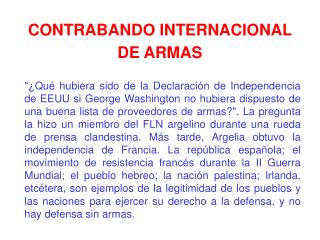 CONTRABANDO INTERNACIONAL DE ARMAS