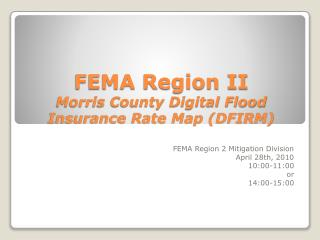 FEMA Region II Morris County Digital Flood Insurance Rate Map DFIRM