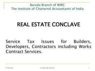 Baroda Branch of WIRC The Institute of Chartered Accountants of India