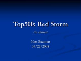 Top500: Red Storm