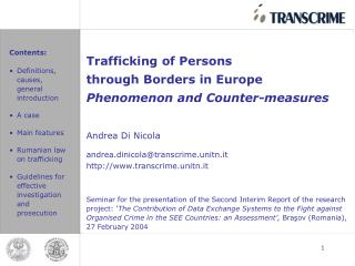 Trafficking of Persons  through Borders in Europe Phenomenon and Counter-measures Andrea Di Nicola
