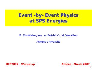 Event -by- Event Physics  at SPS Energies