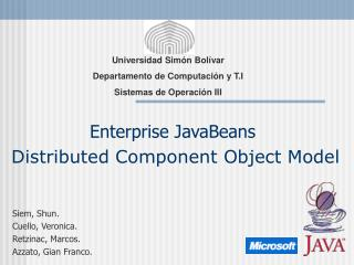 Enterprise JavaBeans Distributed Component Object Model