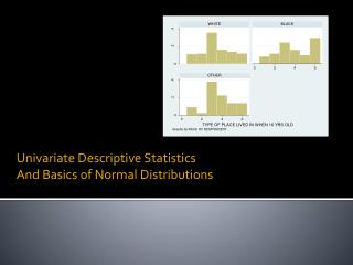 Univariate Descriptive Statistics  And Basics of Normal Distributions