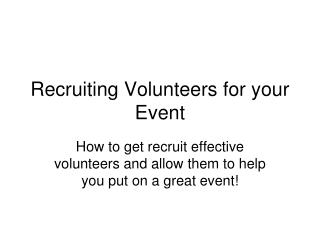 Recruiting Volunteers for your Event
