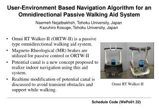 User-Environment Based Navigation Algorithm for an Omnidirectional Passive Walking Aid System