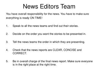 News Editors Team