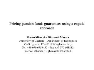 Pricing pension funds guarantees using a copula approach