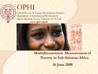 Multidimensional  Measurement of Poverty in Sub-Saharan Africa 16 June 2008