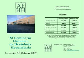 XI Seminario  Nacional  de Hostelería  Hospitalaria