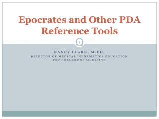 Epocrates and Other PDA Reference Tools
