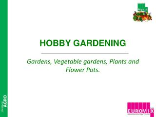 HOBBY GARDENING Gardens, Vegetable gardens, Plants and Flower Pots.