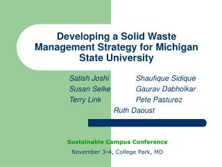 Developing a Solid Waste Management Strategy for Michigan State University
