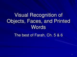 Visual Recognition of Objects, Faces, and Printed Words