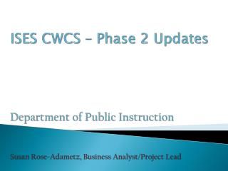 CWCS Phase 2 Timeline