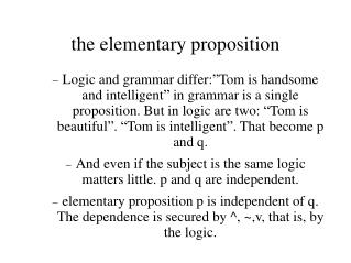 the elementary proposition