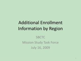Additional Enrollment Information by Region