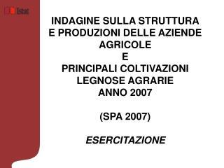 Questionario di rilevazione   ISTAT/SPA 2007