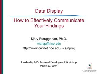 Data Display How to Effectively Communicate Your Findings