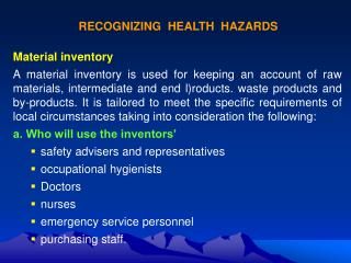 RECOGNIZING  HEALTH  HAZARDS