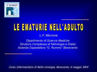 Corso Infermieristico di Nefro-Urologia; Benevento, 6 maggio 3004