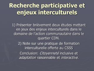 Recherche participative et enjeux interculturels
