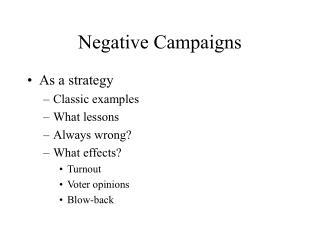 Negative Campaigns