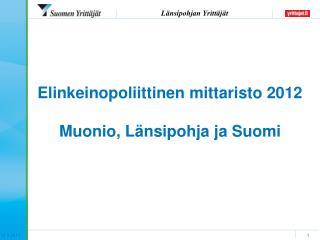 Elinkeinopoliittinen mittaristo 2012 Muonio, Länsipohja ja Suomi