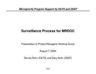 Surveillance Process for MRDOC