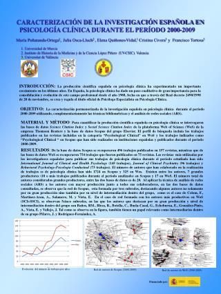 CARACTERIZACIÓN DE LA INVESTIGACIÓN ESPAÑOLA EN PSICOLOGÍA CLÍNICA DURANTE EL PERÍODO 2000-2009