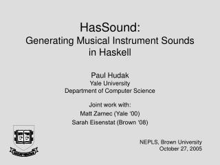 HasSound: Generating Musical Instrument Sounds in Haskell