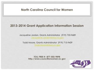 North Carolina Council for Women 2013-2014  Grant Application Information Session