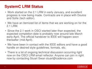 SystemC LRM Status