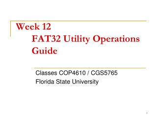 Week 12 FAT32 Utility Operations Guide