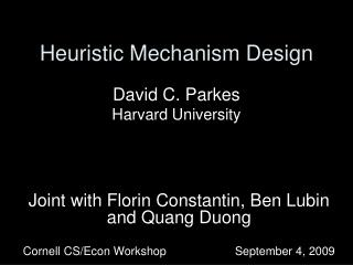 Heuristic Mechanism Design
