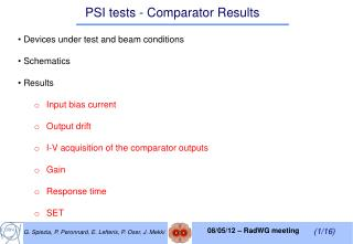 PSI tests - Comparator Results