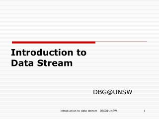 Introduction to  Data Stream