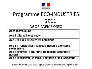 Programme ECO-INDUSTRIES2011 DGCIS ADEME OSEO