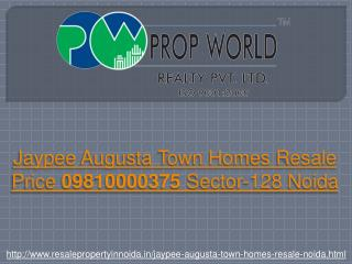 Jaypee Augusta Townhomes Resale Price 09810000375 Sector-128