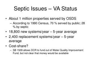 Septic Issues � VA Status