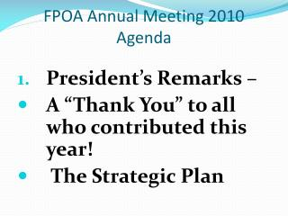 FPOA Annual Meeting 2010 Agenda