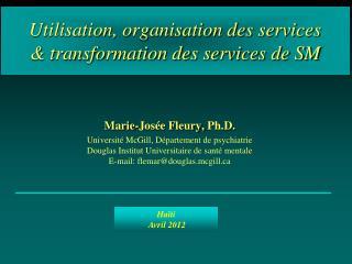 Utilisation, organisation des services  & transformation des services de SM