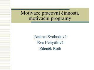 Motivace pracovn  cinnosti, motivacn  programy
