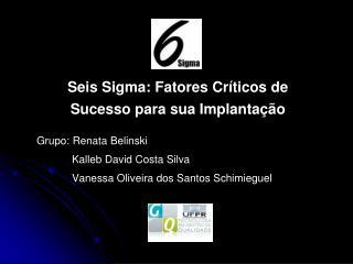 Seis Sigma: Fatores Críticos de Sucesso para sua Implantação Grupo: Renata Belinski