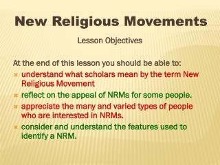 Lesson Objectives At the end of this lesson you should be able to: